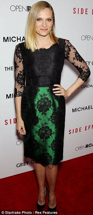 Back to black: Vinesssa Shaw sported a lacy black and green dress, while Kate Mara stuck to black with a frilled skirt detail