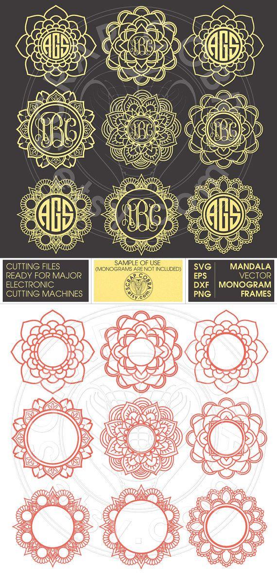 9 Mandala Monogram Frames. Yoga Lotus Henna Designs by ScrapCobra