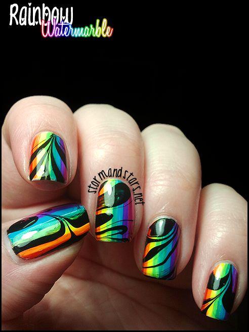 Pretty Rainbow Watermarble