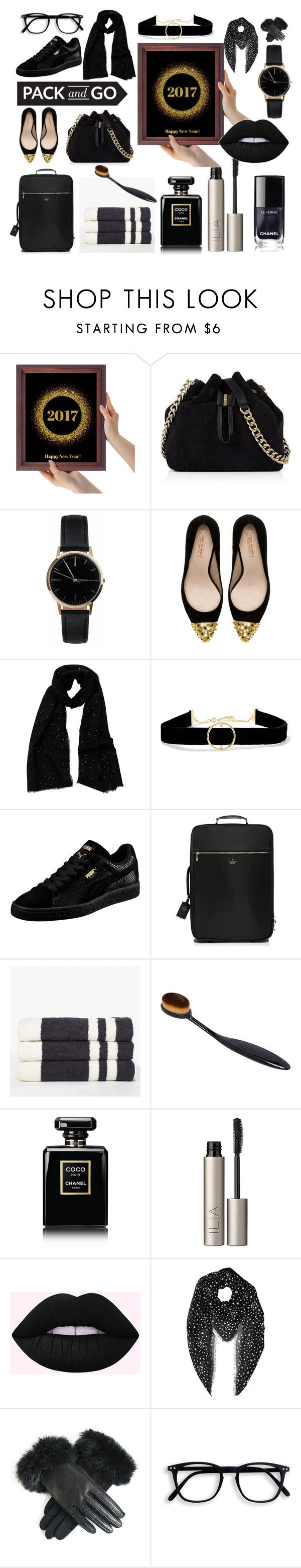 """""""Pack and go"""" by oldcastlechrista ❤ liked on Polyvore featuring Karen Millen, Freedom To Exist, Zara, Tilo, Anissa Kermiche, Puma, Kate Spade, James Perse, Chanel and Ilia"""