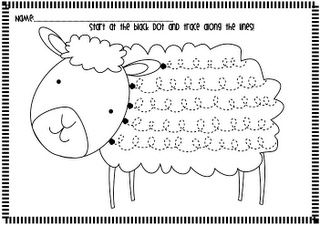 Werkblad schrijfpatronen: schaap