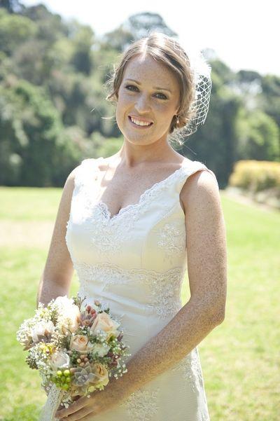 V-neck, sleeveless custom vintage style lace wedding dress with illusion back straps By Maryke http://maryke.co.za/vintage-wedding-dress-beautiful-jo-wedding-dresses-kzn/ #WeddingDressesByMaryke Photo by http://www.tjweddingphotographers.co.za/