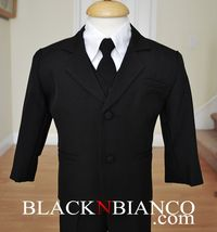 Toddler Infants Boys Black Suit Black N Bianco