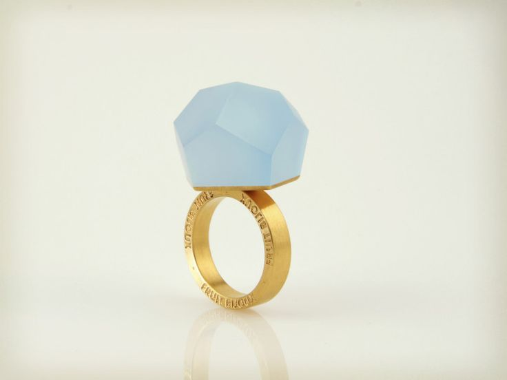 Fruit Bijoux, VU, gold ring, sky blue. To download high or low resolution product images view Mondrianista.com (editorial use only).