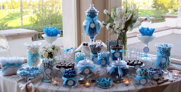 blue candy buffet: Good idea if its a boy baby shower- Do pink if its a girl- or mix if both.
