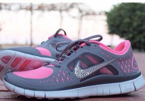 Sparkle Shoes Silver Bling Nike Free Run 3 Womens swarovski Hyper Pink Grey Shoes 2015 Halfprice Nikes