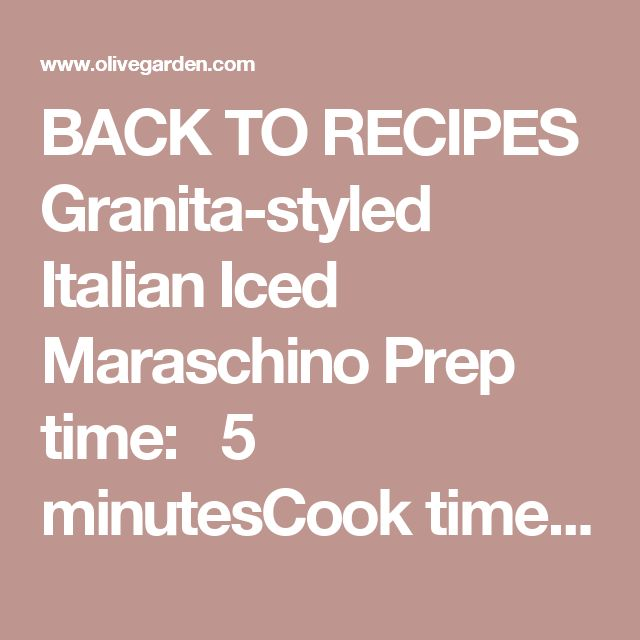 BACK TORECIPES Granita-styled Italian Iced Maraschino Prep time:  5 minutesCook time:  N/A Serving size: INGREDIENTS 4 Tbsp Grenadine (or cherry juice) 4 Tbsp Vodka 4 Tbsp DiSaronno Amaretto 4 Tbsp Kahlua 1/2 cup Half & Half 1/2 cup Cranberry Juice Ice (as needed) Cherries PROCEDURES ADD all ingredients into a mixing tin (in order listed). Add ice and shake. SHAVE or crush ice in a blender, then place into your favorite cocktail glasses. STRAIN chilled cocktail mixture over ice. GARN...