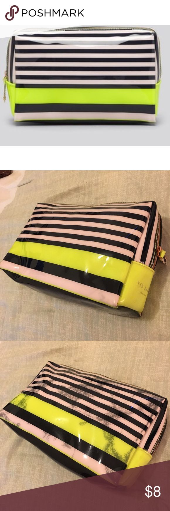 Ted Baker Striped Cosmetic Case Ted Baker Striped Cosmetic Case. Colors are Pale Pink, Navy and Neon Green. Item as pictured. Final sale. Ted Baker Bags Cosmetic Bags & Cases
