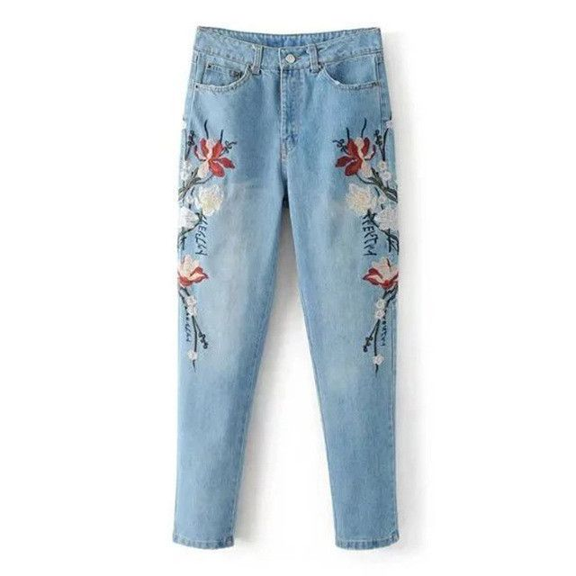 Vintage Floral Embroidery Ripped Washed Bleached Demin Skinny Jeans Pencil Pants Zip Cozy Casual Women Slim Trouser K17-02-05
