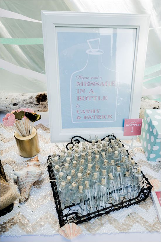 message in a bottle, cute for a beach wedding
