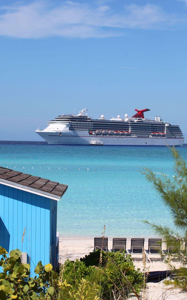 Blue tropical cabana and #CarnivalCruiseLine ship