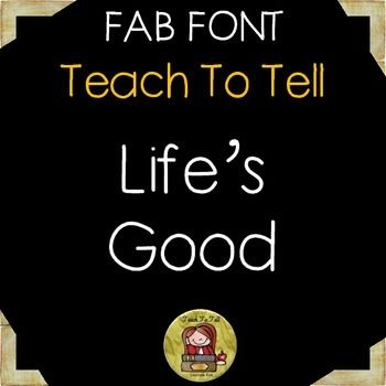Use TeachToTell LIFE'S GOOD FONT for personal or commercial use.INSTALLATION:  Unzip file, double-click on the font file and click instalTERMS OF USE:  For commercial use, please provide credit to Laurane Rae of TeachToTell by including my logo somewhere in the file/credits page of your product.