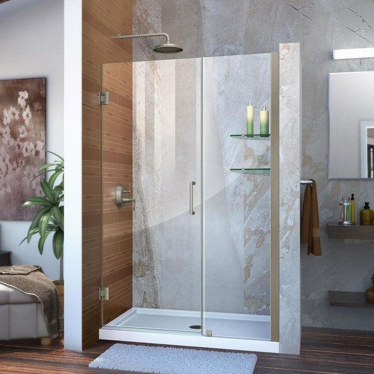 DreamLine Unidoor 46 In To 47 In W Frameless Brushed Nickel Hinged Shower  Door