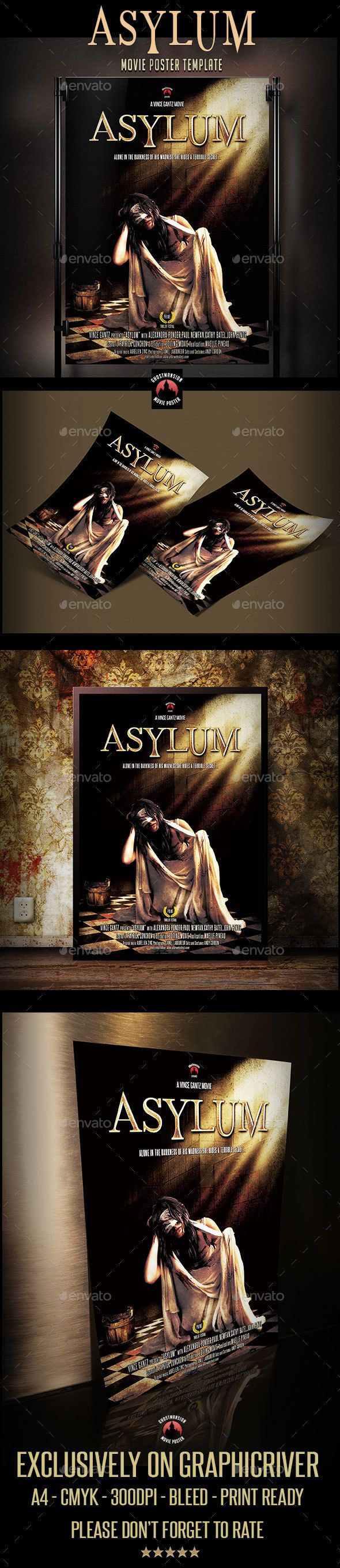 "Download Free              ""Asylum"" Movie Poster Template            #               actors #advertising #cinema #crazy #customizable #demon #devil #drama #event #evil flyer #fantastic flyer #film poster #halloween flyer #horror #madwoman #marketing #movie #poster #psd #scary movie #template #thriller"