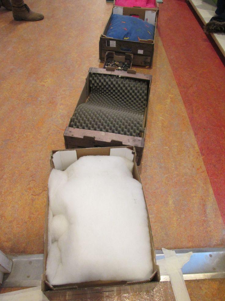 Blote voetenpad. Filters, schuimrubber, knopen en eenkussen. Nutsschool Maastricht