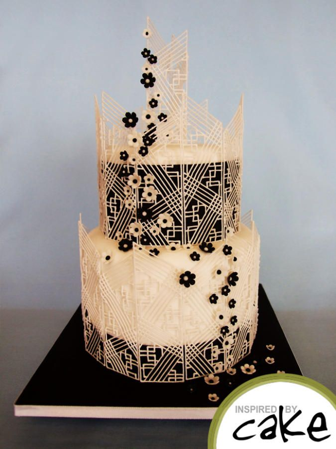 Black And White 2 Tier I Wanted To Bring The Old Style Piping Extension Work Into The Century With This Geometric Design I Was Really Happy With The