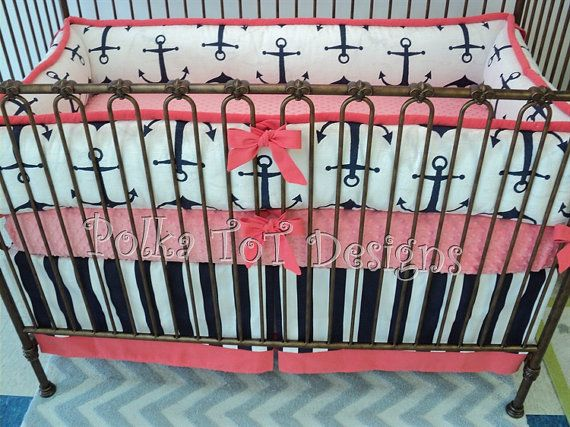 Coral & Navy Nautical Baby Bedding: Katie by PolkaToTBedding