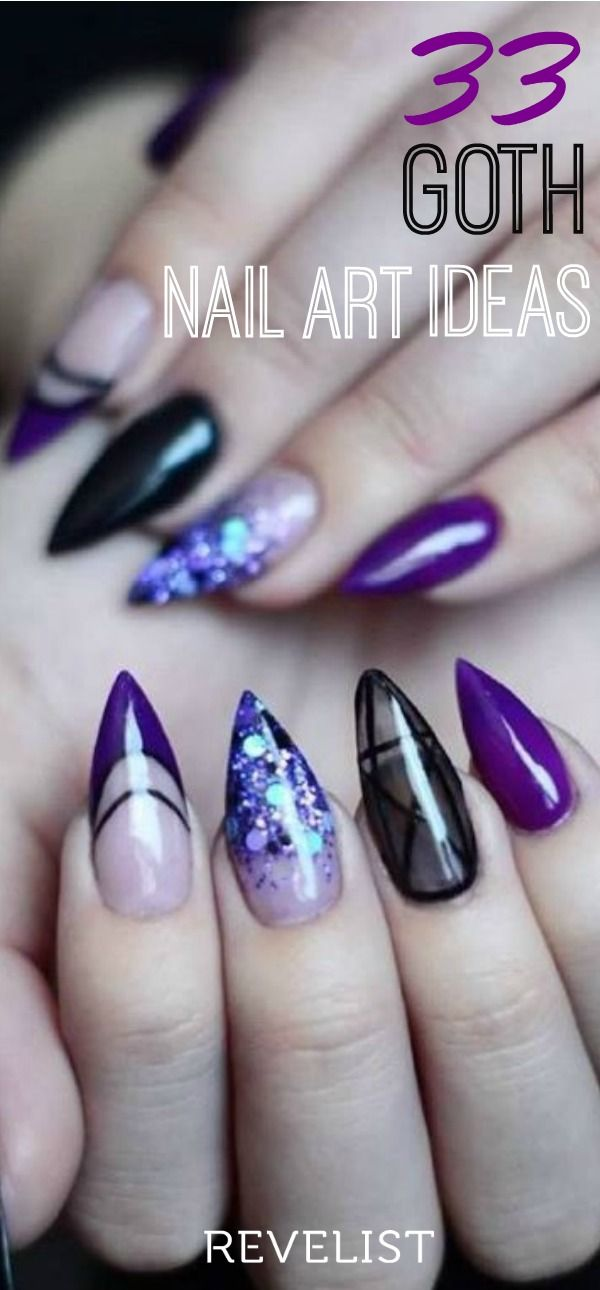 Goth nail art takes your favorite nail design trends and ups the edge factor. Here are a few of the trends we're loving: stiletto nails, holo nails, matte red nails, chrome nails, glitter nails, acrylic nails... Check out 33 gorgeously dark nail art ideas that any goth queen will love. photo:  @pekkiblue/Instagram