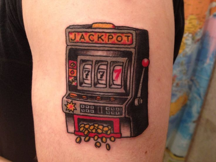 """Make your own luck"" slot machine by Andy at Three Kings Tattoo in Brooklyn, NY"