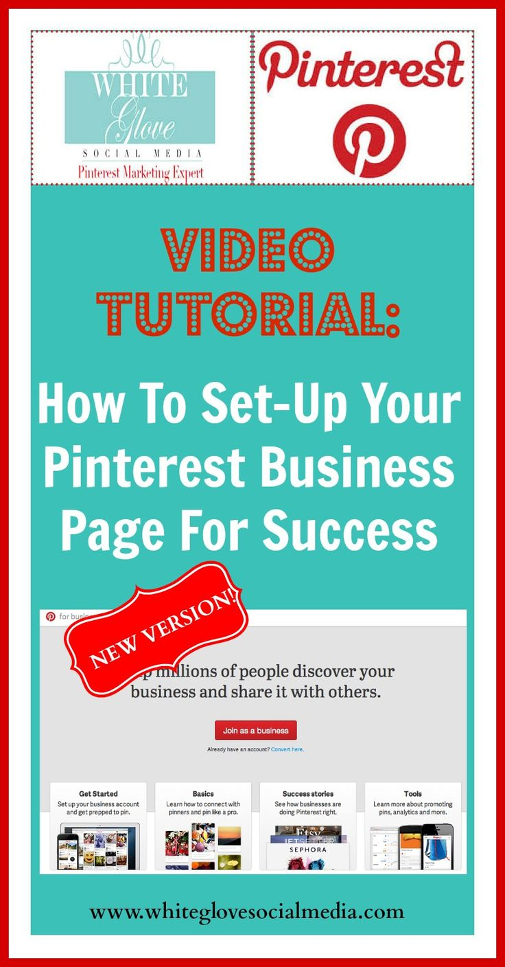 "PINTEREST VIDEO TUTORIAL: ""HOW TO SET-UP YOUR BUSINESS PAGE FOR SUCCESS"" that you need to watch using Pinterest's NEW VERSION created by #PinterestMarketingExpert Anna Bennett! Click here to watch the video http://www.whiteglovesocialmedia.com/pinterest-new-version-for-businesses-video-tutorial-how-to-set-up-your-business-page-for-success/  #PinterestCoach"