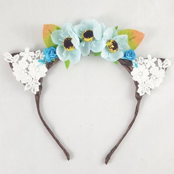 Blue flower crown, Cat ears, Floral crown, Bohemian, Hippie, Anime, Cosplay, Cat ear headband, Cat ears headband, Anime cat ears, Festival