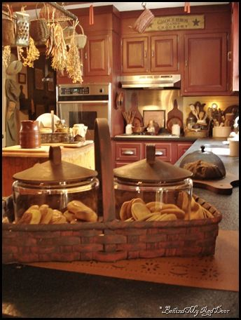 i love this basket with jars!: Decor Kitchens, Prim Baskets, Prim Kitchens, Red Kitchens, Rustic And Primitive Kitchens, Design Kitchens, Country Kitchens, Modern Kitchens, Cookies Jars