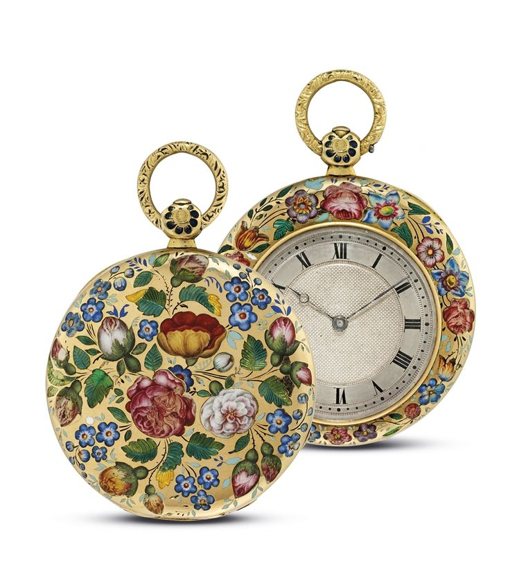 LE ROY HGER, DU ROI, PALAIS ROYAL - GOLD AND ENAMEL OPENFACE KEYWOUND POCKET WATCH WITH KEY, CIRCA 1830.: