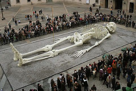 Giant Humans | Giant model of a human skeleton by Gino De Dominicis