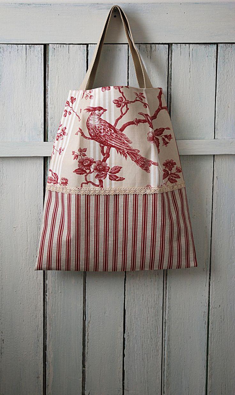 Tote bag, sac à main, sac à ouvrage, sac à livres en toile de Jouy rouge beige…