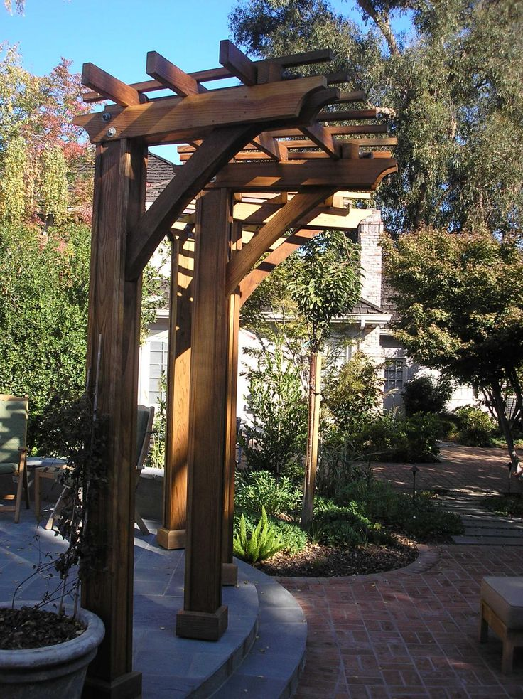 Curved Redwood Arbor Pergola Project Pinterest