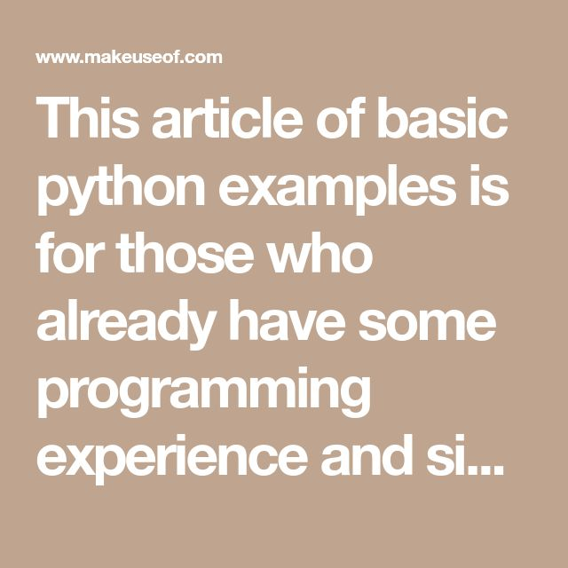 492 best python images on pinterest 10 basic python examples that will help you learn fast fandeluxe Image collections