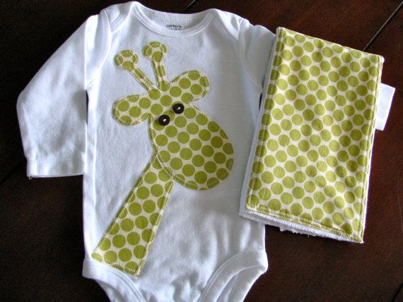 New onesie...on the way! : Baby Shower Ideas Giraffes, Baby Boys Homemade Gifts, Gifts Ideas, Baby Giraffes, Baby Onesie Ideas, Burp Rag, Baby Diy Ideas Giraffes, Baby Gifts Homemade, Giraffes Onesie