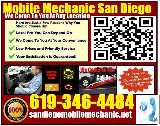Mobile Mechanic San Diego CA Auto Repair Service Garage shop that comes to you call 619-346-4484 http://sandiegomobilemechanic.net/
