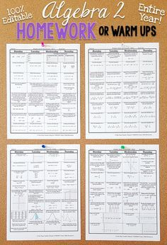Algebra 2 homework or warm ups that provide a daily review for Algebra 2 math standards. This Algebra 2 spiral math review resource is fully EDITABLE and comes with answer keys and a pacing guide.