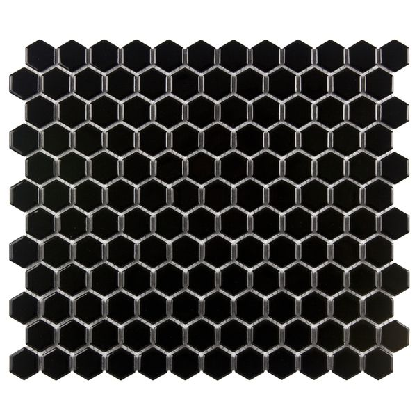 SomerTile Victorian Hex 1-in Black Porcelain Mosaic Tile (Pack of 10) - Overstock™ Shopping - Big Discounts on Somertile Wall Tiles