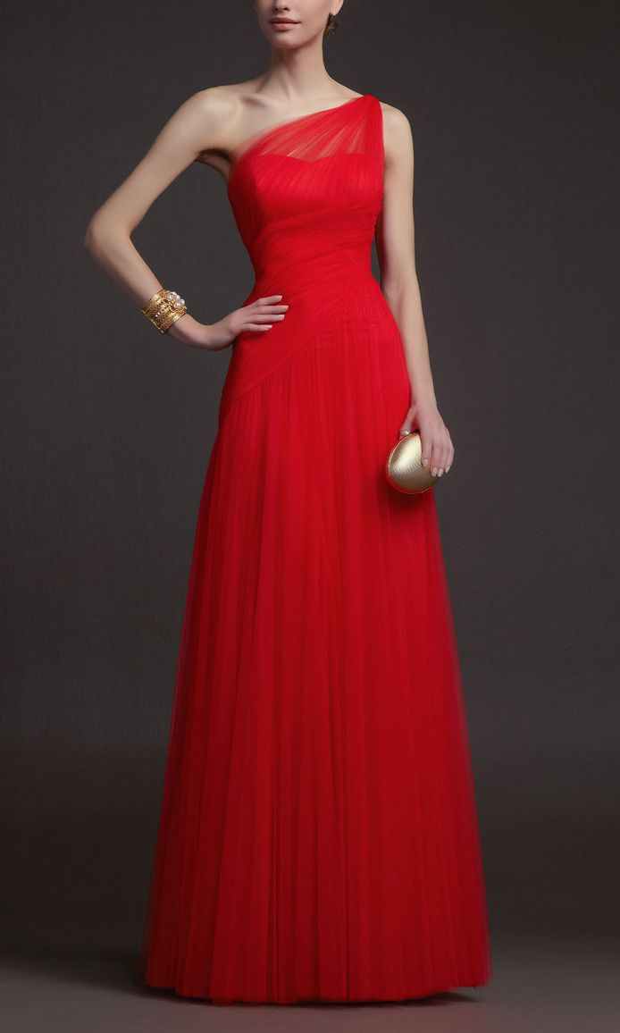 Red One Shoulder Aline Tulle Long Prom Dresses KSP281 by Kissprom.co.uk