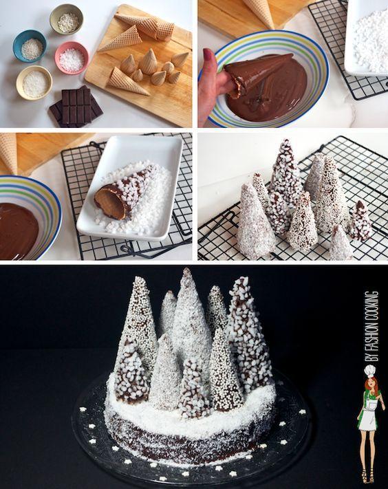 La bûche de Noël revisitée   Forêt de sapins enneigés marrons chocolat photo