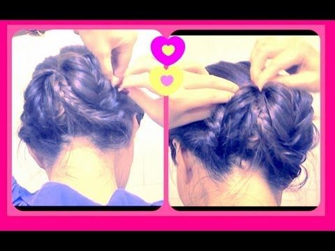 ★ HOW TO FISHTAIL BRAIDED SOCK BUN UPDO ON YOURSELF FOR MEDIUM LONG HAIR. EASY HAIRSTYLES CHIGNON