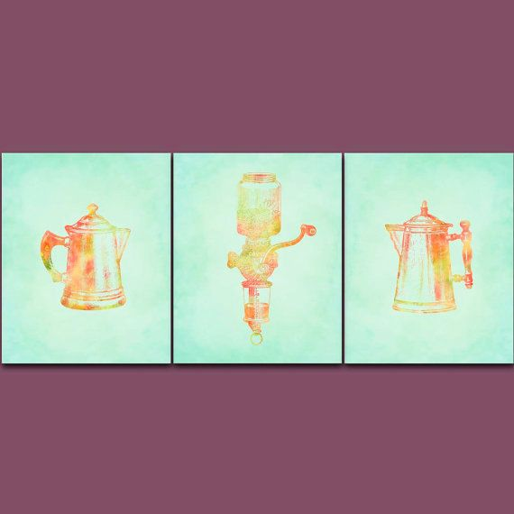 mint and orange kitchen wall art set coffee by SunnyRainFactory
