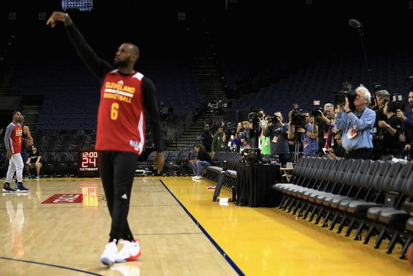 LeBron James Photos Photos - Members of the media focus on LeBron James #23 of the Cleveland Cavaliers during practice for the 2017 NBA Finals at ORACLE Arena on May 31, 2017 in Oakland, California. NOTE TO USER: User expressly acknowledges and agrees that, by downloading and or using this photograph, User is consenting to the terms and conditions of the Getty Images License Agreement. - 2017 NBA Finals - Practice and Media Availability