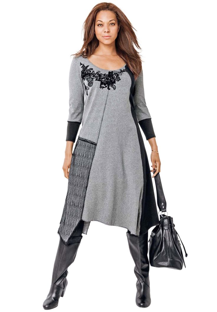 #ClosetLoveAffair The assymetrical hemline and piecing on this soft gray and black dress distinguishes it from an ordinary t-shirt dress. It's sophisticated enough for the office, but comfy enough to wear on a long flight. It inspires professionalism with pizazz!