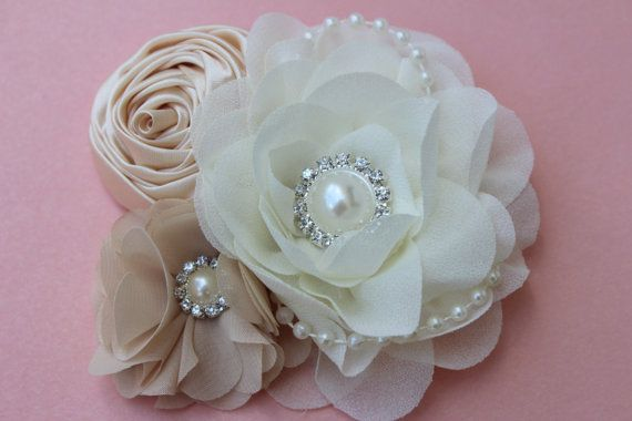 Ivory bridal hair piece champagne hair clip by VioletsChicDesigns
