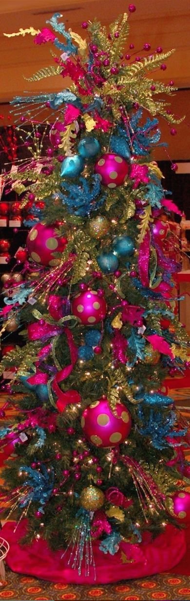 Teal and Hot Pink Christmas Tree