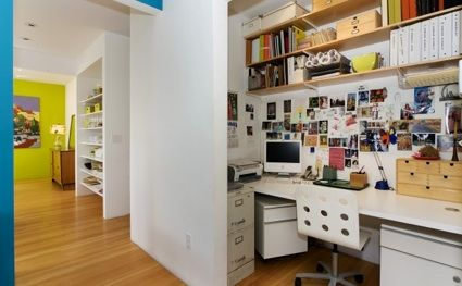 A lot of stuff packed in a little space.  This could be done with your existing materials.: Contemporary Home, Closet Offices, Ideas, Offices Design, Small Offices Spaces, Closet Design, Offices Spaces Design, Hallways Closet, Home Offices