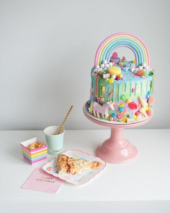 Rainbow girls 4th birthday party  Rainbow birthday party  100 Layer ...