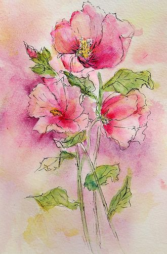 Pen and Wash Hibiscus by linfrye ..