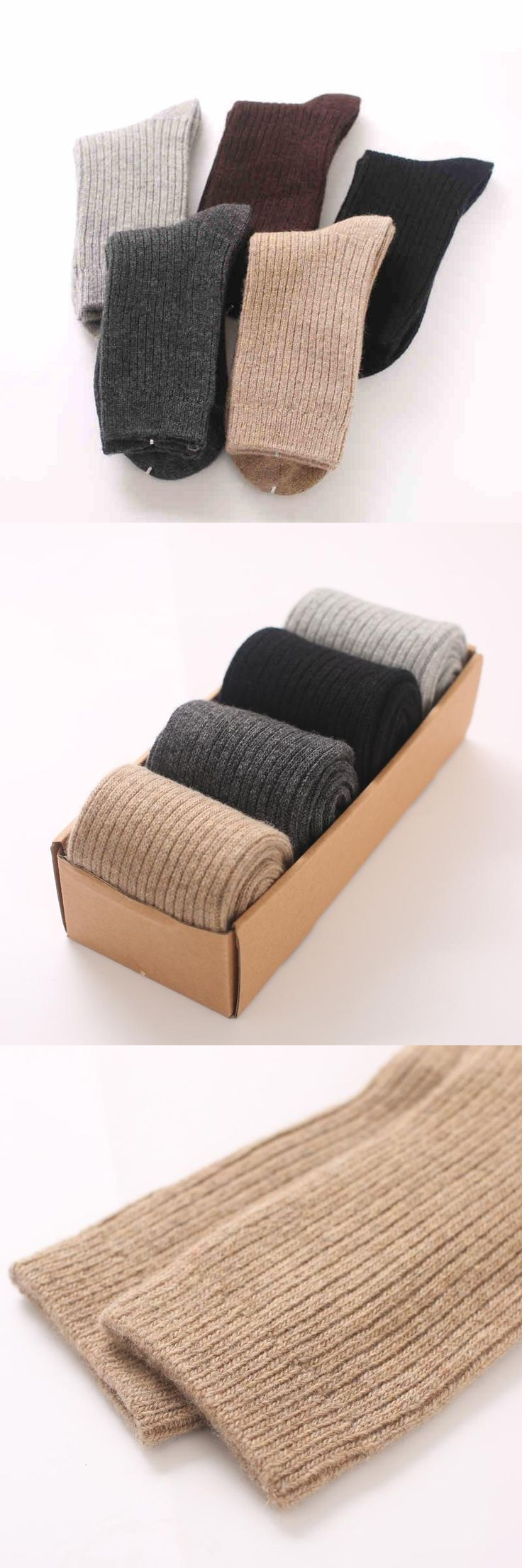 Thick warm autumn and winter men's wool socks in the tube large size men's cotton socks solid winter cashmere
