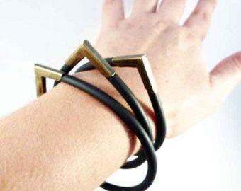 Bangle Bracelet - 3 bracelets set - rubber and brass bracelets - drop shape - jewelry gift - asymmetric jewellery -bangles - cuff bracelets
