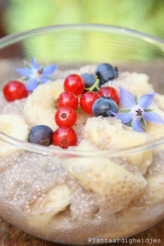 Plantaardigheidjes: Chia banaan ontbijt met een kokos ananas drink