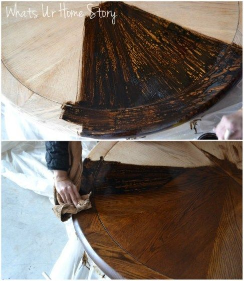 How to stain wood furniture, Minwax dark walnut stain www.whatsurhomestory.com